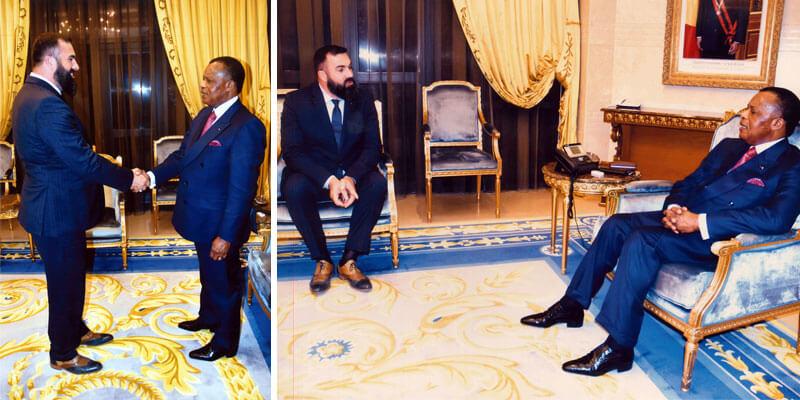 Hervé Diaz président Ecole de Commerce de Lyon et Denis Sassou Nguesso président république du congo