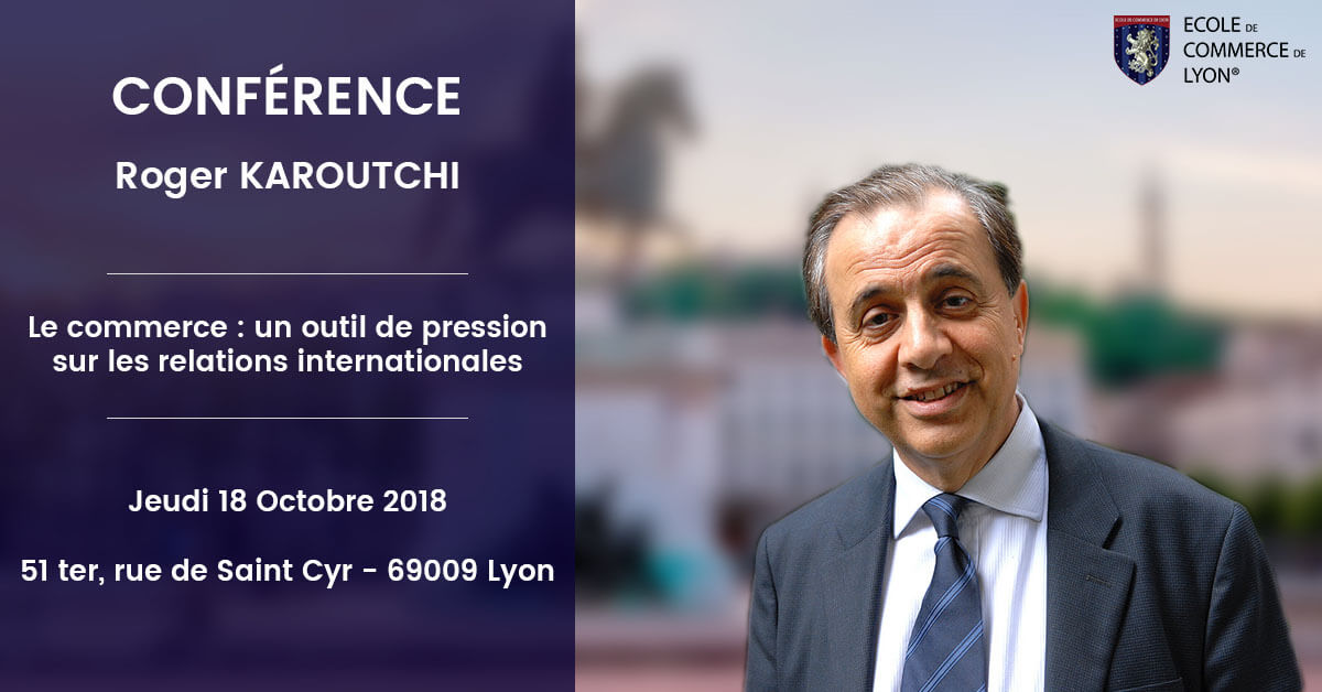 Roger Karoutchi à l'École de Commerce de Lyon le 18 octobre 2018