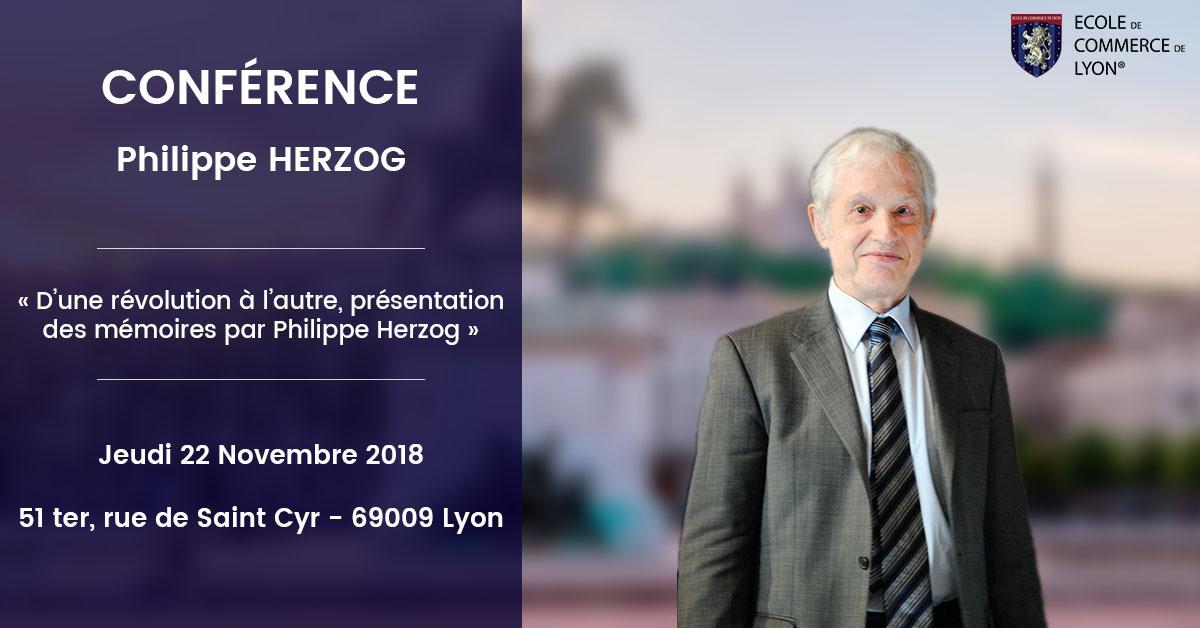 Philippe Herzog en conférence à l'École de Commerce de Lyon le jeudi 22 novembre 2018